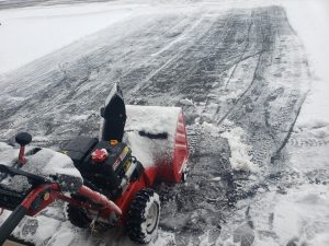 The snow blower on the first run.