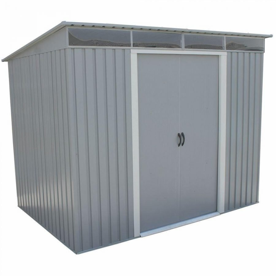 Duramax Pent Roof 8 ft. x 6 ft. Gray Metal Shed – REVIEW