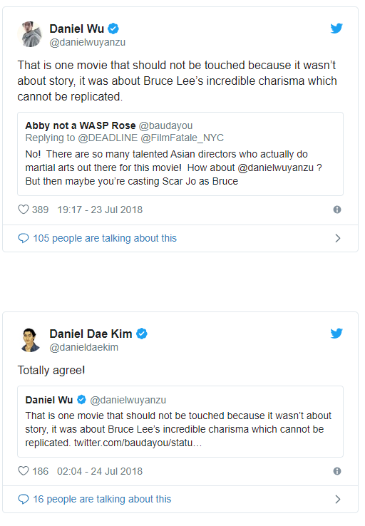 Twitter responses to Enter the Dragon re-make.