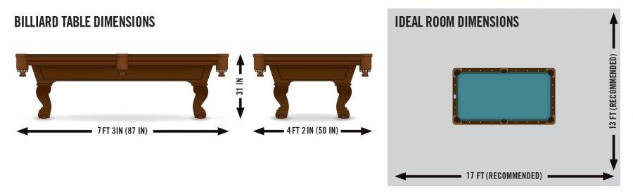 Eastpoint brighton billard pool table dimensions.