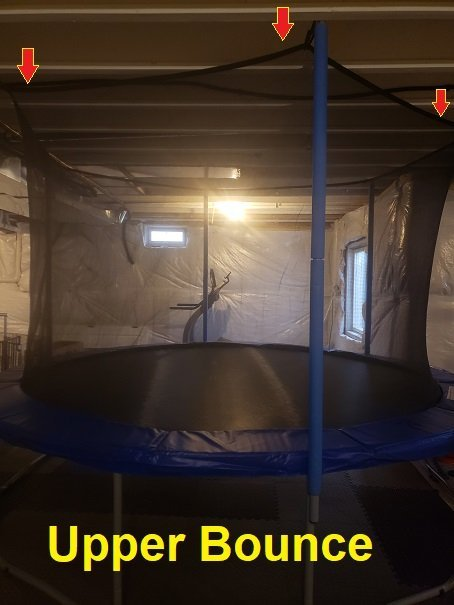 Upper Bounce Trampoline tip enclosures.