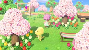 Animal Crossing planting trees.