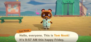 Tom Nooks intro on Nintendo Switch Animal Crossing.