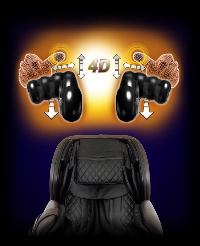 The massage chair has 4-d rollers.